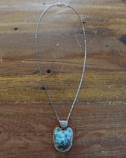 Southwestern Sterling Silver and Carved Turquoise Cat Necklace