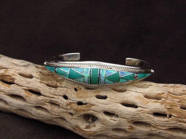 Sterling Silver Multi Stone Inlay Cuff Bracelet