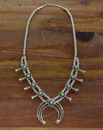 Sterling Silver and Gaspeite Squash Blossom Necklace