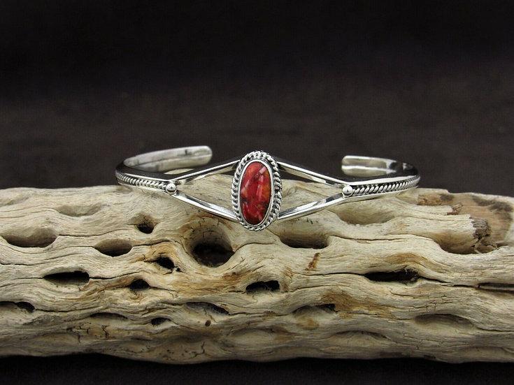 Dainty Sterling Silver Spiny Oyster Cuff Bracelet