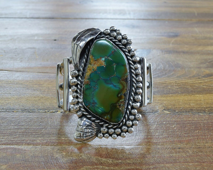 Vintage Green Turquoise Sterling Silver Cuff Bracelet
