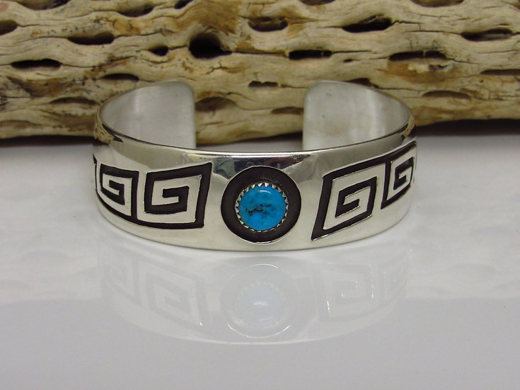 Navajo Sterling Silver Turquoise Overlay Cuff Bracelet by Rosco Scott