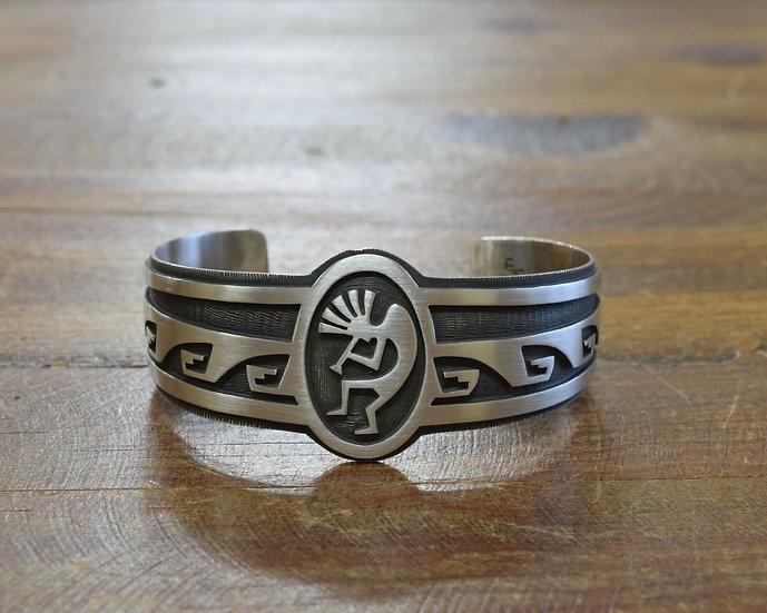 Sterling Silver Hopi Overlay Kokopelli Cuff Bracelet