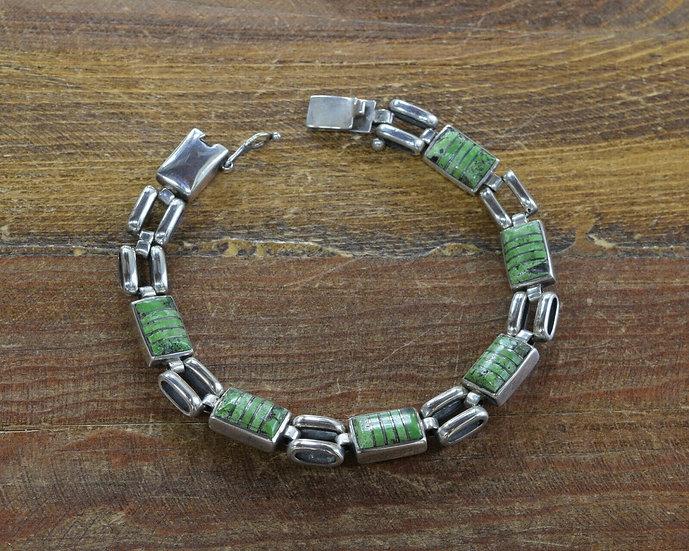 Vintage Sterling Silver Inlay Green Turquoise Link Bracelet