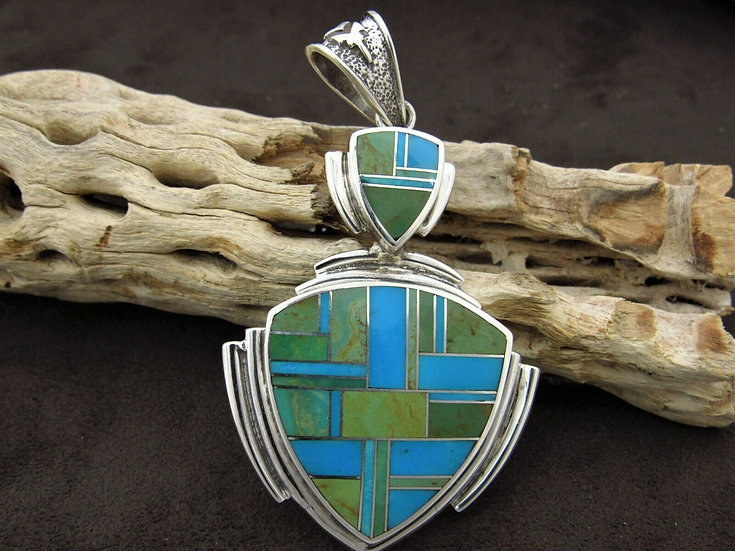 Turquoise Sterling Silver Inlay Pendant