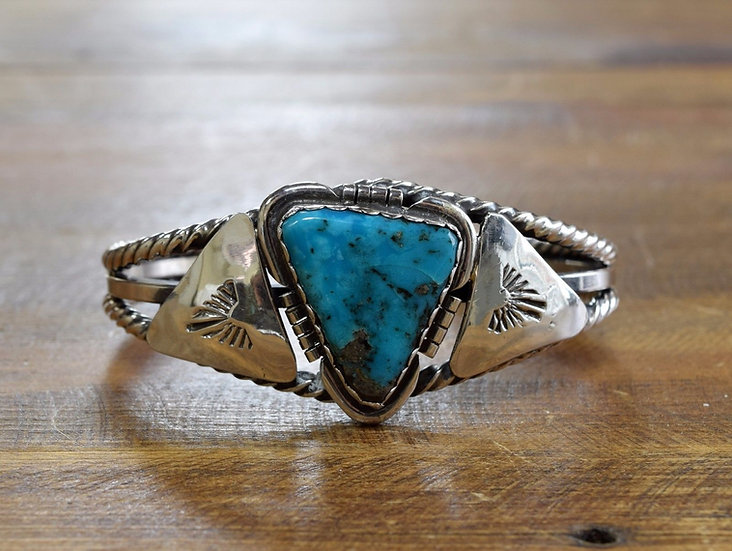 Vintage Turquoise Sterling Silver Cuff Bracelet by Louise Yazzie