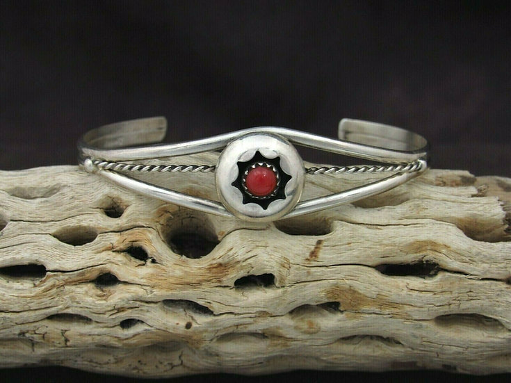 Sterling Silver Coral Shadowbox Cuff Bracelet