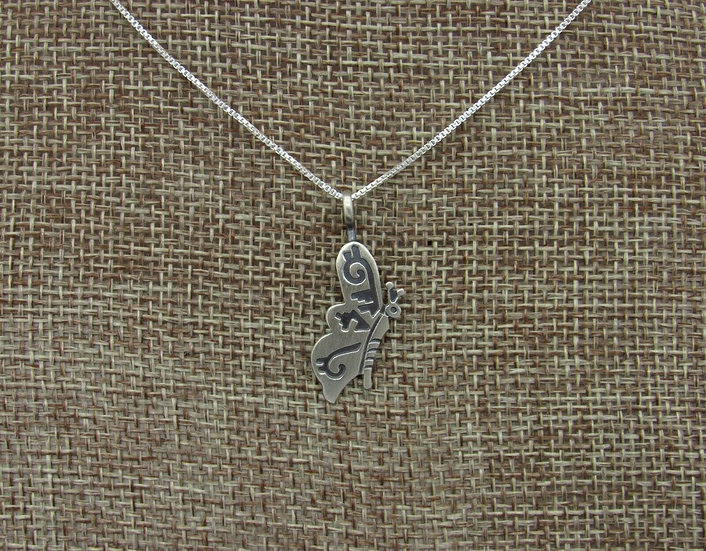 Navajo Butterfly Sterling Silver Overlay Necklace
