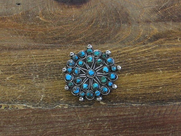 Vintage Sterling Silver and Turquoise Round Snake Eye Brooch