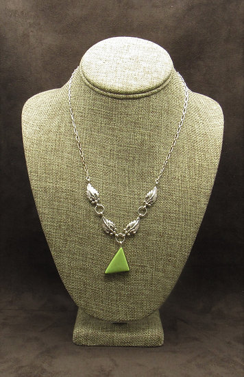Stunning Gaspeite Sterling Silver Leaf Necklace