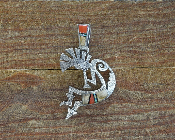 Navajo Multi-color Inlay Sterling Silver Kokopelli Pendant by Charlie Bowie