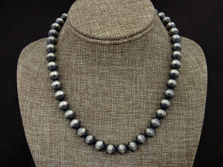 Sterling Silver Oxidized Beaded Necklace