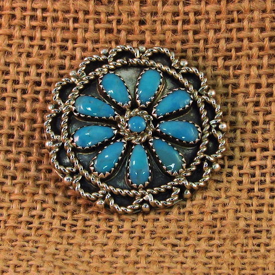 Navajo Turquoise Sterling Silver Pin Pendant