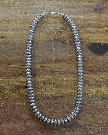 Vintage Stamped Sterling Silver Disk Beaded Necklace