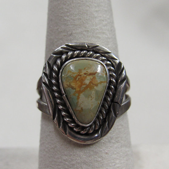 Sterling Silver and Green Turquoise Ladies Ring Size 7.75