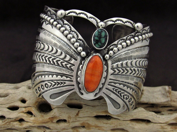 Turquoise and Spiny Oyster Sterling Silver Butterfly Cuff Bracelet