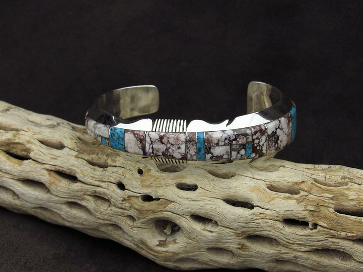 Sterling Silver Wild Horse Magnesite and Turquoise Inlay Tapered Cuff Bracelet
