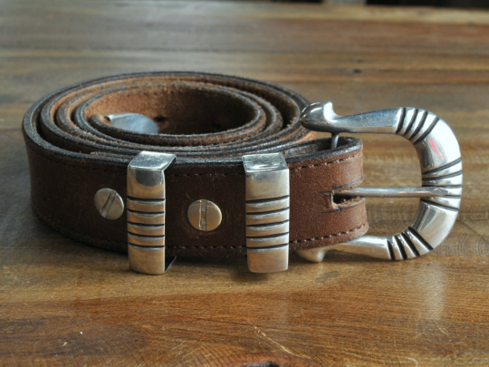 Vintage Navajo Sterling Silver Ranger Set on Leather Belt