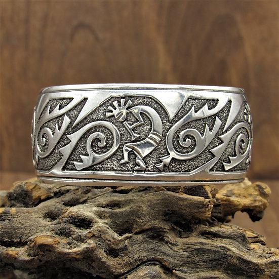 Sterling Silver Kokopelli Cuff Bracelet by Navajo Lorenzo Jackson