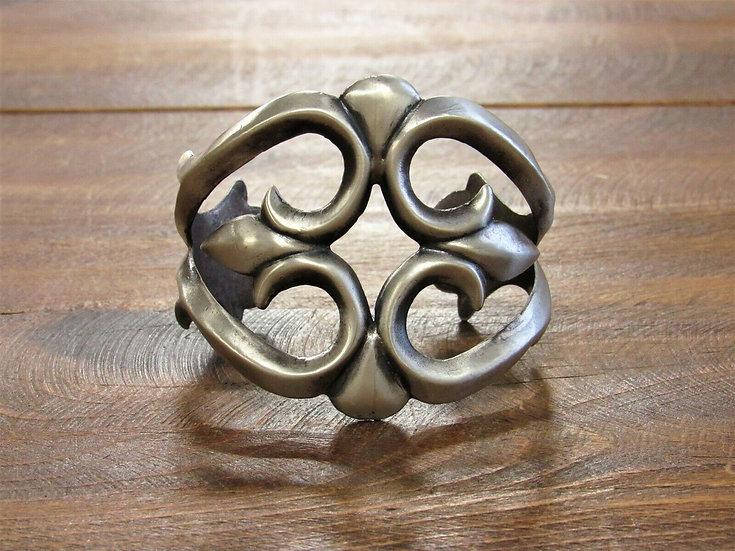 Vintage Sterling Silver Sand Cast Cuff Bracelet