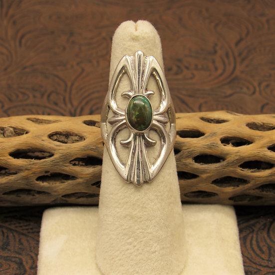 Green Turquoise Statement Ring Size 6 1/4