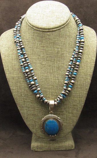 Multi Strand Sterling Silver Turquoise Bead Necklace with Turquoise Pendant