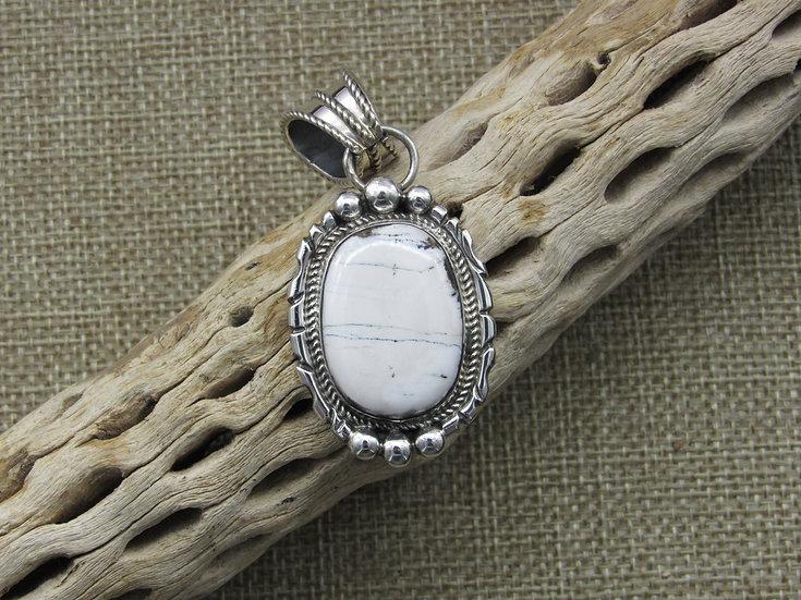 Sterling Silver Southwestern White Buffalo Pendant