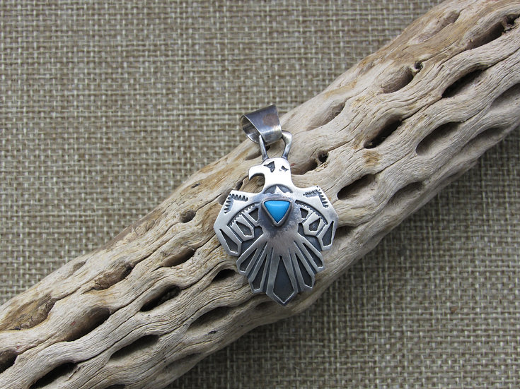 Southwestern Sterling Silver and Turquoise Thunderbird Pendant