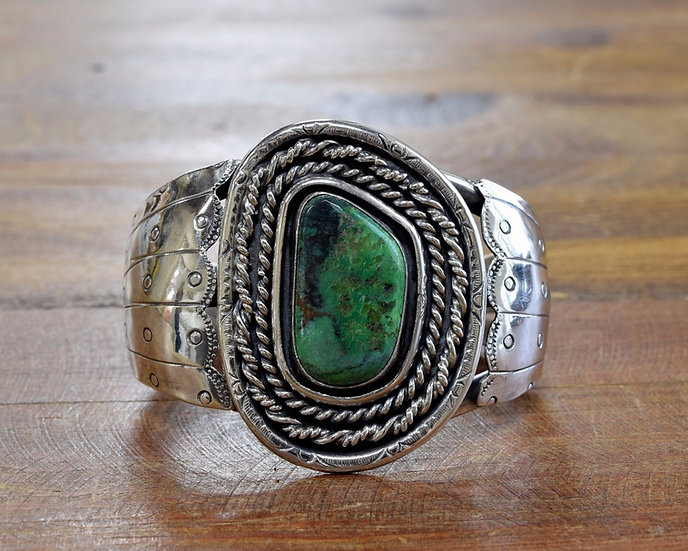 Large Sterling Silver and Green Turquoise Southwest Cuff Bracelet