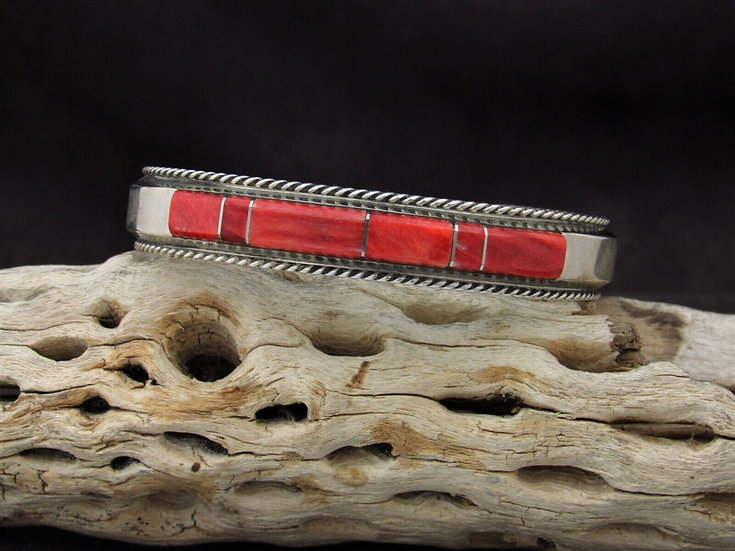 Sterling Silver Red Spiny Oyster Inlay Cuff Bracelet