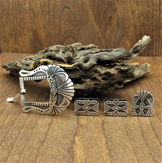 Ornate Southwest Sterling Silver Ranger Belt Buckle