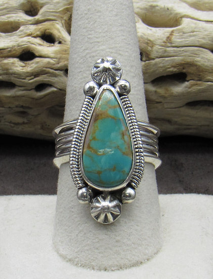 Beautiful Turquoise and Sterling Silver Ring by Wydell Billie Size 9 1/2