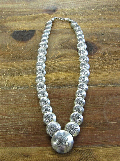 Southwestern Sterling Silver Stamped Pillow Beaded Necklace