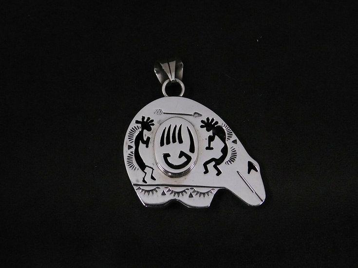Sterling Silver Kokopelli Cut Out Bear Pendant