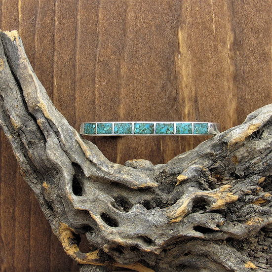 Vintage Sterling Silver Turquoise Chip Inlay Cuff Bracelet
