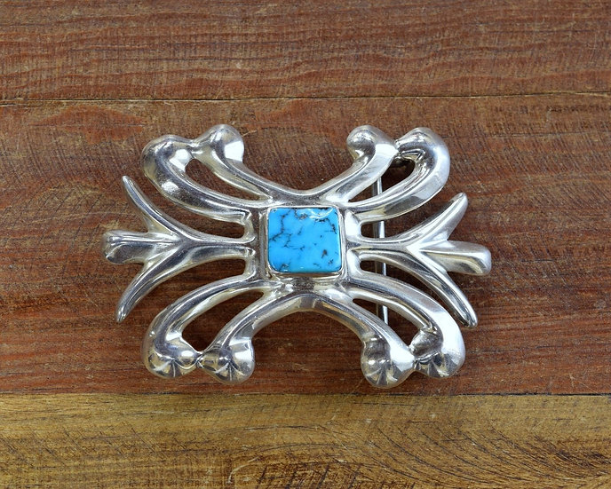 Southwest Sandcast Sterling Silver and Turquoise Belt Buckle