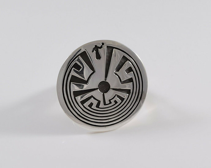 Sterling Silver Man in the Maze Overlay Ring by Rick Manuel