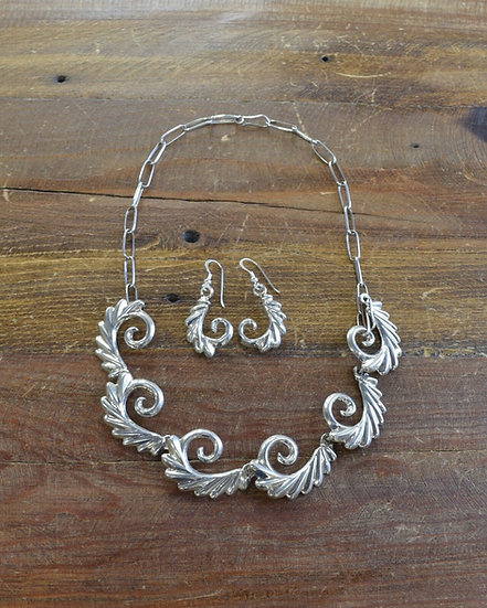 Contemporary Southwestern Sterling Silver Earring and Necklace Set