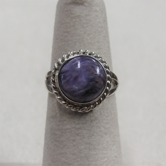 Southwest Sterling Silver and Charoite Ring Size 4.75