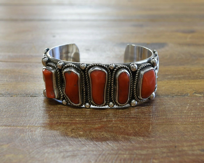 Navajo Sterling Silver and Red Coral Cuff Bracelet by Wilson Jim