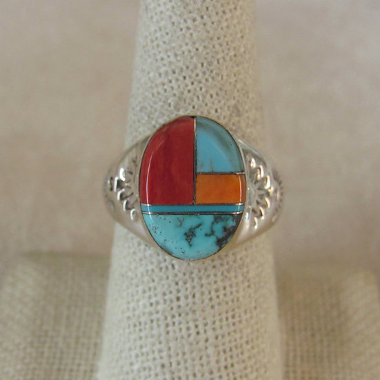 Sterling Silver and Turquoise Inlaid Men's Southwest Ring Size 8.75