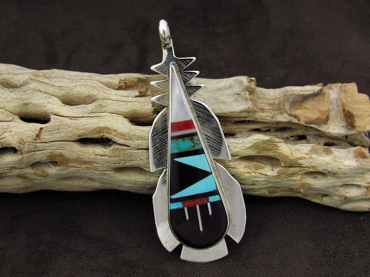 Multi-Color Inlay Feather Sterling Silver Pendant