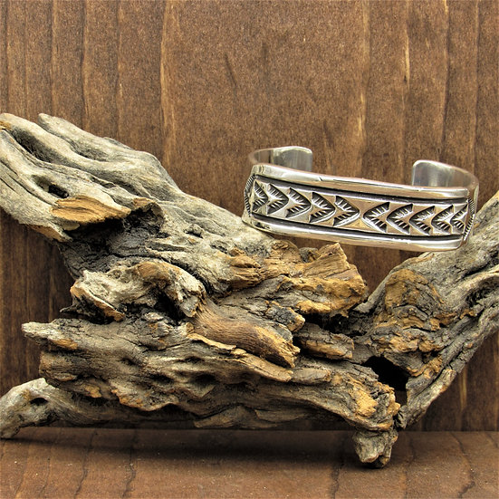 Navajo Vintage Sterling Silver Stamped Cuff Bracelet By Mary and Ken Bill