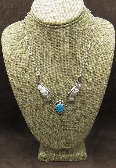 Navajo Made Turquoise Sterling Silver Necklace