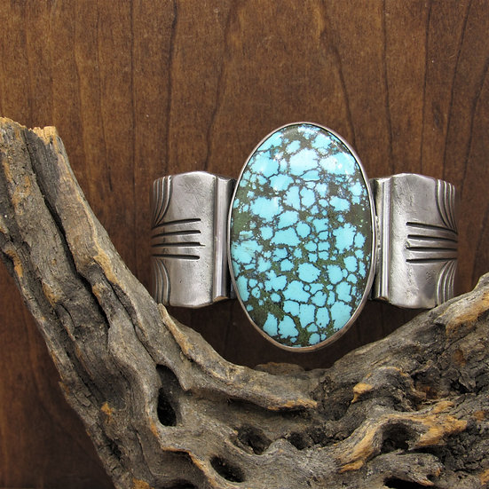 Large Vintage Navajo Sterling Silver Turquoise Cuff Bracelet by Sally Yazzie