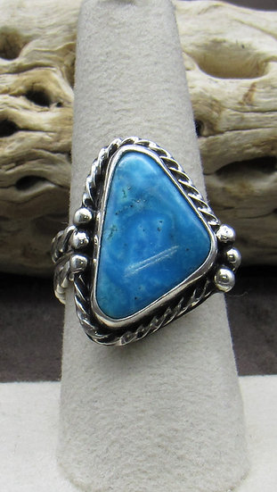 Stunning Sterling Silver and Turquoise Triangle Ring Size 8 1/2