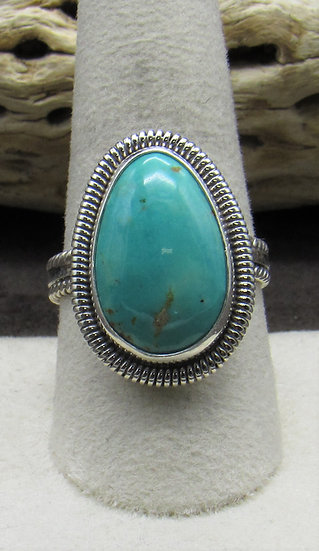 Beautiful Teardrop Turquoise and Sterling Silver Ring Size 9 3/4