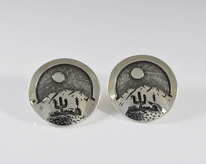 Saguaro Desert Scene Sterling Silver Round Overlay Post Earrings by Rick M