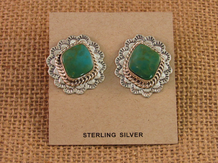 Navajo Green Turquoise Sterling Silver Post Earrings