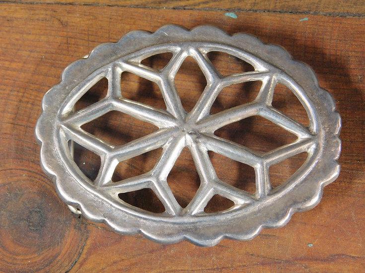 Vintage Navajo Sterling Silver Sandcast Belt Buckle